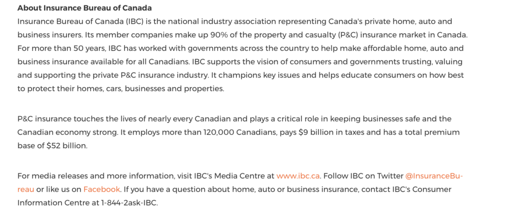 Example of boilerplate used in press release by the Insurance Bureau of Canada