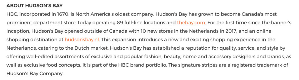 Example of the Bay's boilerplate in press release
